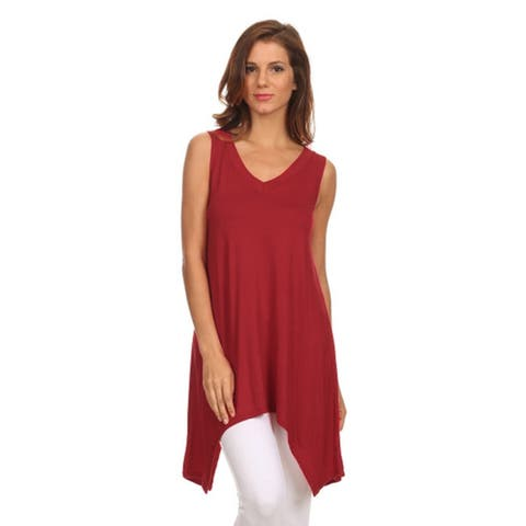 MOA Collection Women's Solid Sleeveless High-low Hem Top
