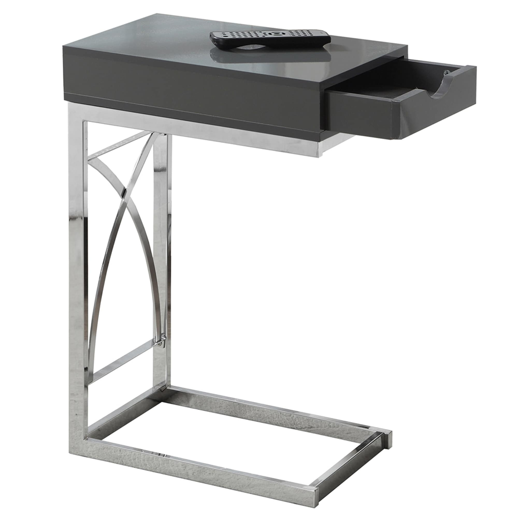 Chrome Metal Glossy Grey with Drawer Accent Table (Glossy Grey)