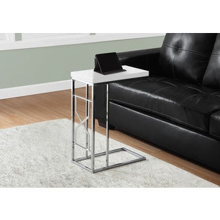 Glossy White Chrome Metal Accent Table