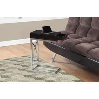ACCENT TABLE - CHROME METAL / CAPPUCCINO WITH A DRAWER