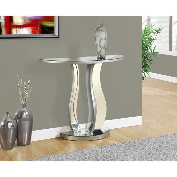 Console table with brushed silver mirror free shipping today 17801640 - Mirrored console table overstock ...