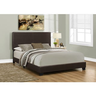 Queen Size Dark Brown Leather-look Fabric Bed