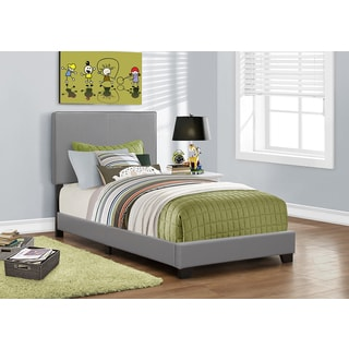 monarch grey faux leather twinsize bed