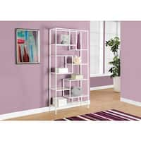 Clay Alder Home Pacific 72-inch White Metal Bookcase With Tempered Glass