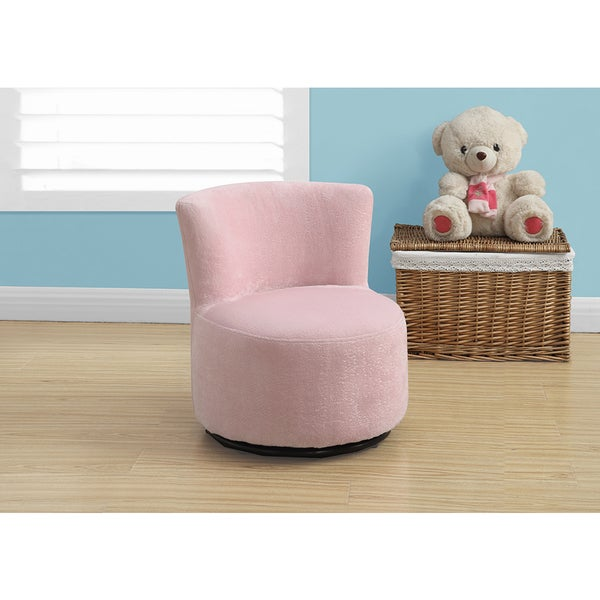 Juvenile Chair Swivel Fuzzy Pink Fabric Free