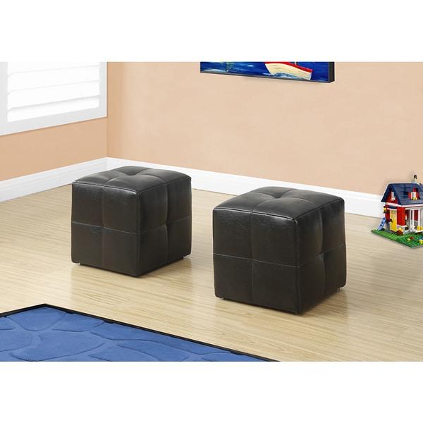 ottoman - 2pcs set / juvenile / dark brown leather-look