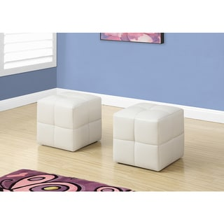 2-piece Set Juvenile White Leather-look Ottoman