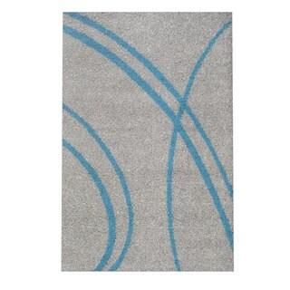 Soft Cozy Contemporary Stripe Turquoise Grey Indoor Shag Area Rug (3'3 X 5')