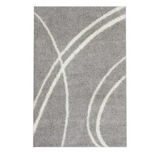 Soft Cozy Contemporary Stripe Light Grey White Indoor Shag Area Rug (3'3 x 5')