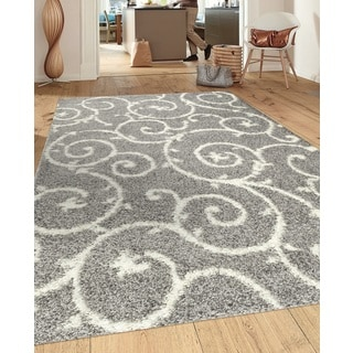 Soft Cozy Contemporary Scroll Light Grey White Indoor Shag Area Rug (3'3 x 5')