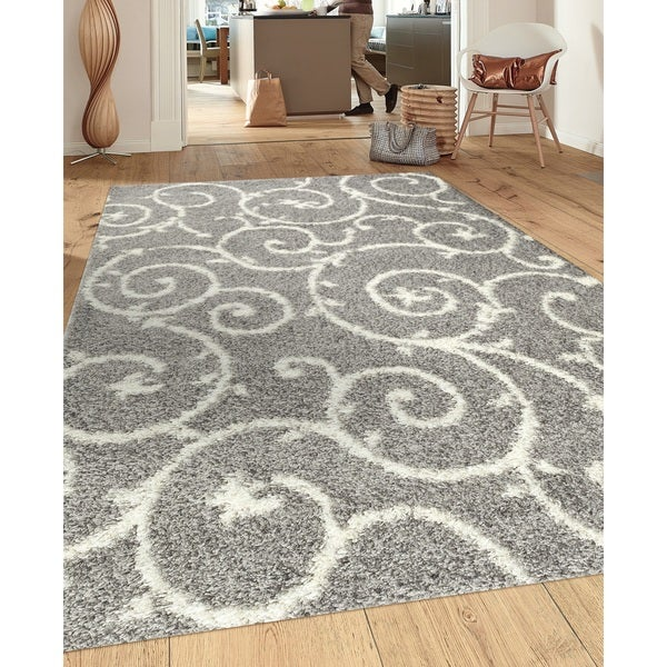 Porch & Den Marigny Decatur Light Grey White Indoor Shag Area Rug (3'3 x 5')