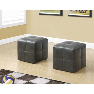 Monarch Charcoal Faux Leather Juvenile Ottomans (Set of 2)