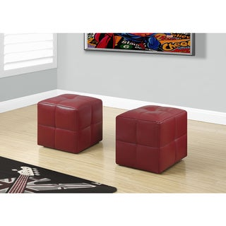 2-piece Set Juvenile Red Leather-look Ottoman