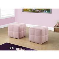 ottoman - 2pcs set / juvenile / fuzzy pink fabric