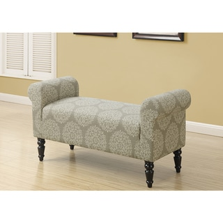 Traditional Style Taupe Fabric 44-inch Bench