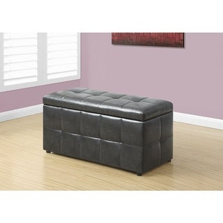 """OTTOMAN - 38""""L / STORAGE / CHARCOAL GREY LEATHER-LOOK"""