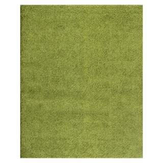 Soft Cozy Solid Green Indoor Shag Area Rug (8' x 10')