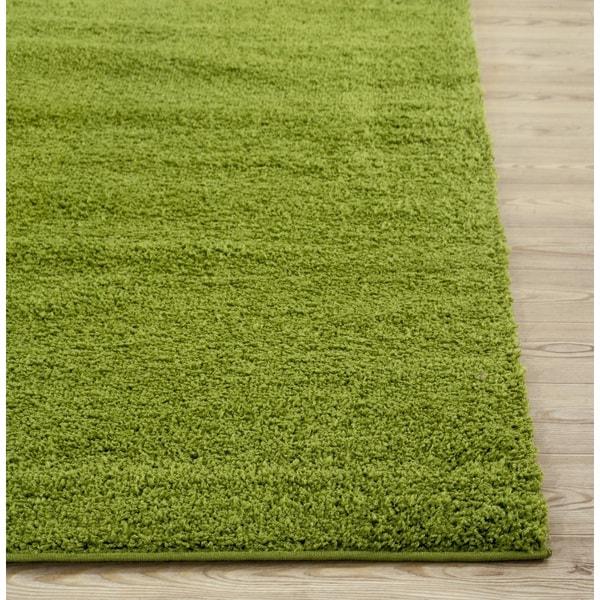 Green Area Rug 8x10: Soft Cozy Solid Green Indoor Shag Area Rug (8' X 10