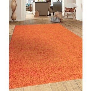 Soft Cozy Solid Orange Indoor Shag Area Rug (7'10 x 10')