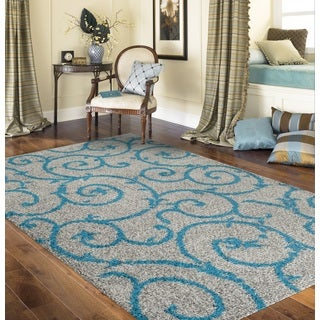 Soft Cozy Contemporary Scroll Turquoise Grey Indoor Shag Area Rug (7'10 x 10')