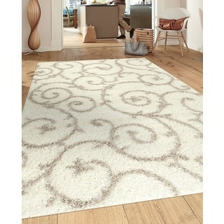 Soft Cozy Contemporary Scroll Cream White Indoor Shag Area Rug (7'10 x 10')