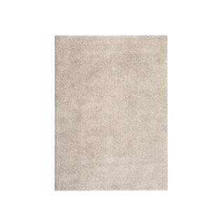 Soft Cozy Solid Cream Indoor Shag Area Rug (5'3 x 7'3)
