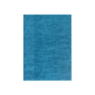 Soft Cozy Solid Turquoise Indoor Shag Area Rug (5' x 8')