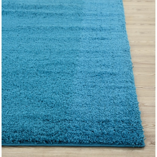 World Rug Gallery Florida Turquoise Area Rug Reviews: Soft Cozy Solid Turquoise Indoor Shag Area Rug (5' X 8