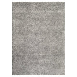 Soft Cozy Solid Light Grey Indoor Shag Area Rug (5'3 x 7'3)