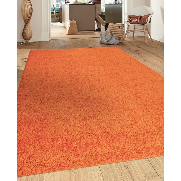 Soft Cozy Solid Orange Indoor Shag Area Rug 5 3 X 7 3