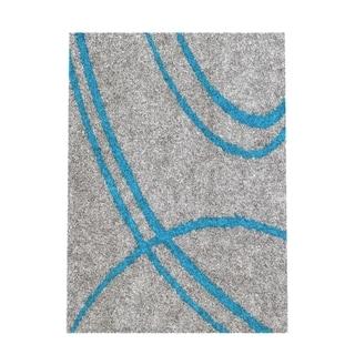 Soft Cozy Contemporary Stripe Turquoise Grey Indoor Shag Area Rug (5'3 x 7'3)