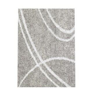 Soft Cozy Contemporary Stripe Light Grey White Indoor Shag Area Rug (5'3 x 7'3)