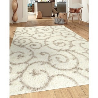 Soft Cozy Contemporary Scroll Cream White Indoor Shag Area Rug (5.3' x 7.3')