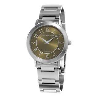 Calvin Klein Jeans Women's K8713150 'Continual' Green Dial Stainless Steel Bracelet Swiss Quartz Watch