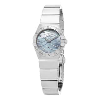 Omega Women's 123.10.24.60.57.001 'Constellation' Blue Mother of Pearl Diamond Dial Stainless Steel https://ak1.ostkcdn.com/images/products/10746777/P17801710.jpg?impolicy=medium