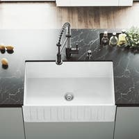 "VIGO 30"" Matte Stone Farmhouse Kitchen Sink"