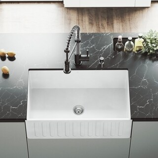 "VIGO 30"" Matte Stone Farmhouse Apron Front Kitchen Sink"