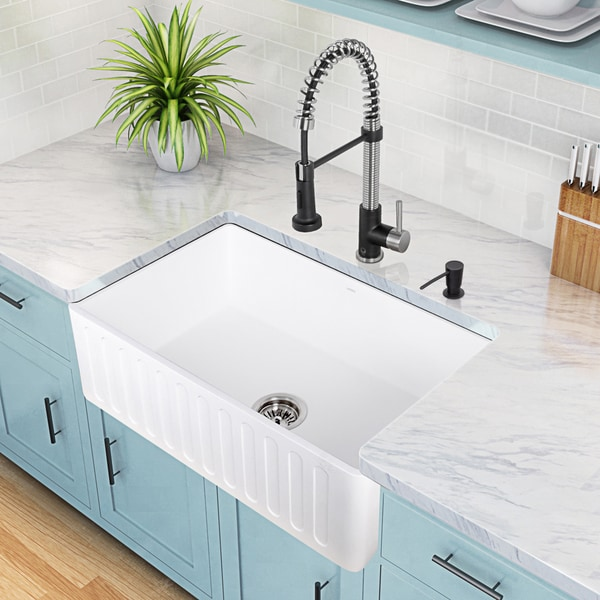 VIGO Matte Stone Reversible Farmhouse Kitchen Sink Free Shipping Today Ov