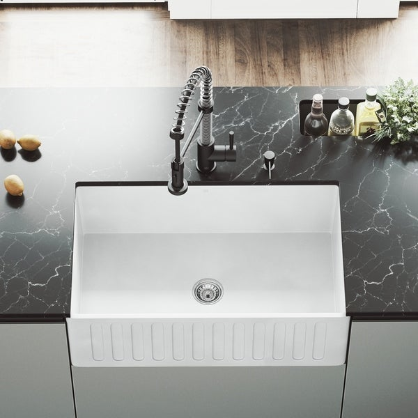 Shop VIGO White 30-inch Matte Stone Farmhouse Kitchen Sink