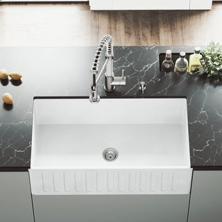 VIGO Matte Stone Reversible Farmhouse Kitchen Sink