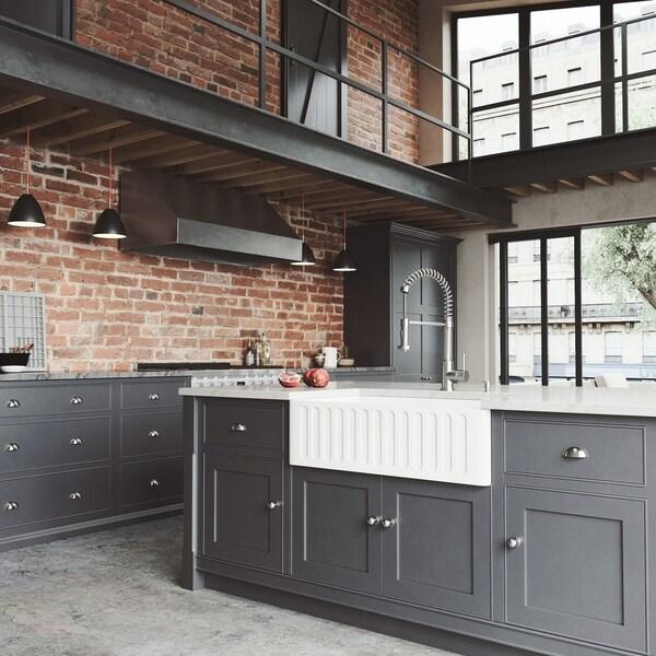 vigo 33 handmade matte stone farmhouse apron front kitchen sink - Farm House Kitchen