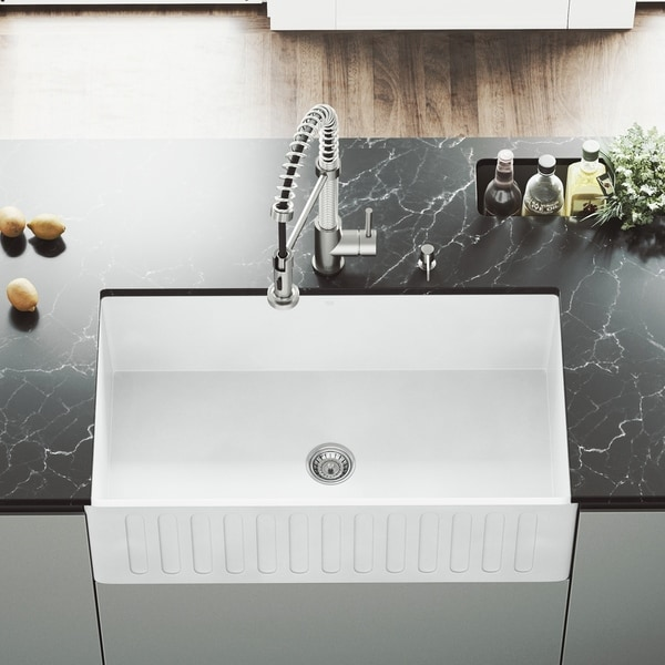 Vigo White 33 Inch Matte Stone Farmhouse Kitchen Sink