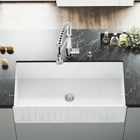 VIGO White 36-inch Matte Stone Farmhouse Kitchen Sink