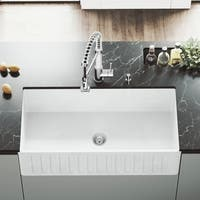 "VIGO 36"" Handmade Matte Stone Farmhouse Apron Front Kitchen Sink"