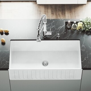 vigo matte stone reversible farmhouse kitchen sink acrylic kitchen sinks for less   overstock com  rh   overstock com