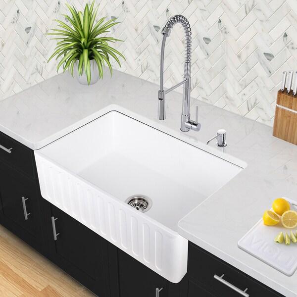 Stone Farmhouse Kitchen Sinks : VIGO Matte Stone Farmhouse Kitchen Sink - Free Shipping Today ...