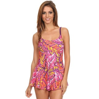 Dippin Daisy's Women's Pink Feathers One-Piece Swimdress