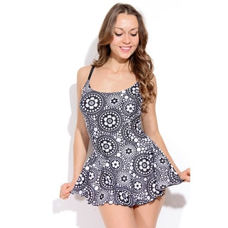 Dippin Daisy's Black and White Circular Flowers One Piece Swimdress