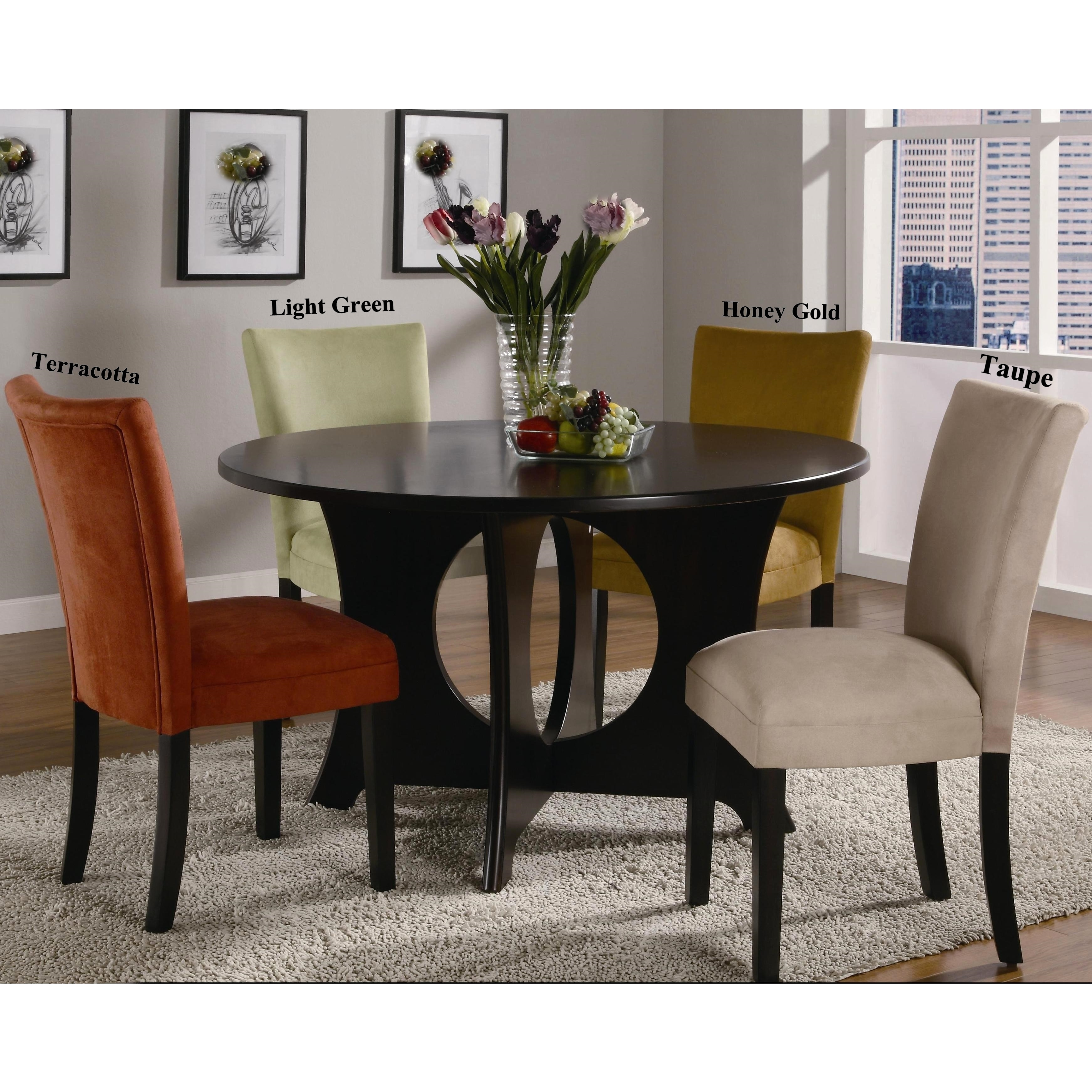 Mirage Round Table / Microfiber Parson Chairs 5 Piece Dining Set