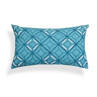 Bondi Blue Geometric Embroidered Throw Pillow